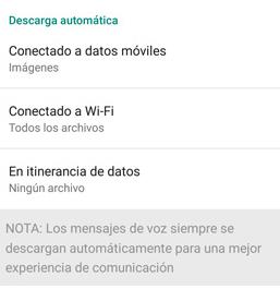 Menú de descarga automática de archivos de WhatsApp