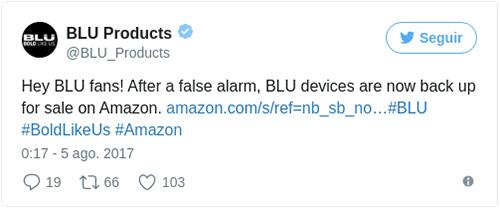 Blu sigue su negocio en Amazon