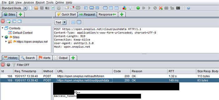 oneplus envia datos
